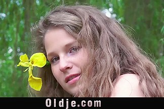 ### old man is rooting adorable teen girl