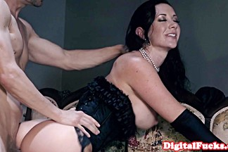 Titfucked glamorous babe gets doggystyled