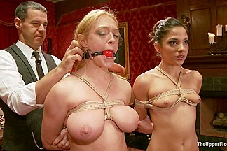 Big Tits Blonde Slave Suspended for Anal Fuck vs Petite Cock Sucker
