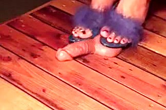 Chick in purple sandals steps on his prick to give him an o