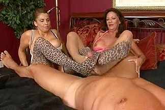 2 Older Chicks Give a Nylons Footjob