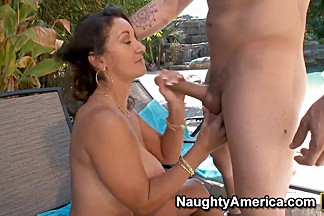 Persia Monir is a cocksucking whore that is making blowjob in front of pool