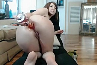 Sexy brunette bitch at home teasing and toying her holes with dildo