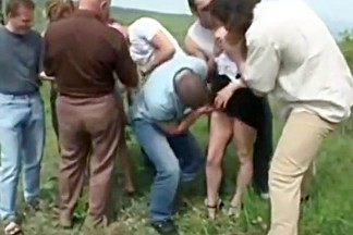 Outdoor piss gangbang hot and messy