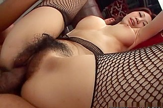 Fishnet stockings and big tits mean great sex for Fuuka