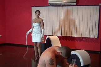 Nice domina gets her serf whipped and flogged