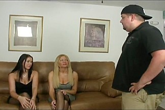 Mother & Daughter team jointly for a nylon footjob