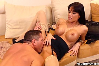 Glamourous delicious brunette Gia DiMarco has sex on the sofa