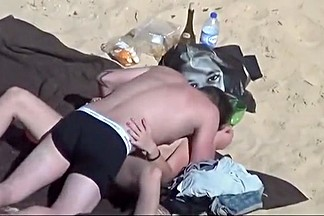 Horny couple fucking in the beach