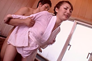 Horny Japanese model Tsubasa Amami in Exotic JAV censored Bathroom, College scene