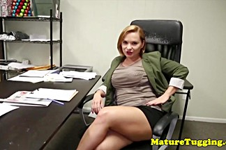 Busty stepmom wanking cock in office