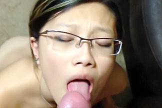 Nerdy Oriental Girl Drops To Her Knees And Delivers A Blowj
