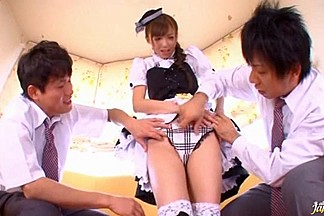 Naughty Maid Aino Kishi Gets A Facial In A Threesome