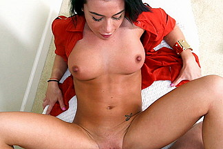 Petite Brunette Swallows Cum