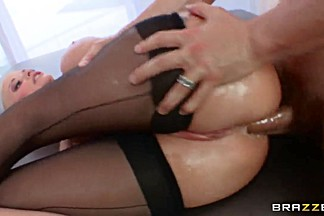 Erik Everhard pulled up blonde chick Joslyn James's legs in stockings over her head and naughtily sucking her cunt.