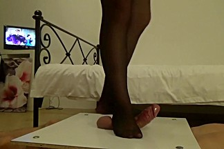 Sexy Black Nylons Trampling Cock And Ball