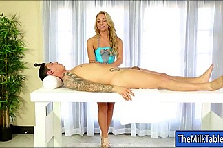 Pretty masseuse Katerina Kay blowjobs under the massage table