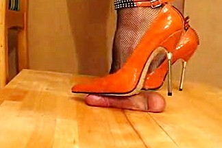 High Heel Cock and Ball trample Orange Metal