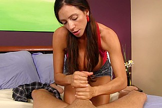 Ariella Ferrera does handjob and sucks a veiny prick
