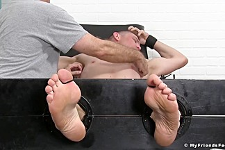Grayson in Fit guy Grayson gets his armpits and feet tickled by friends - MyFriendsFeet