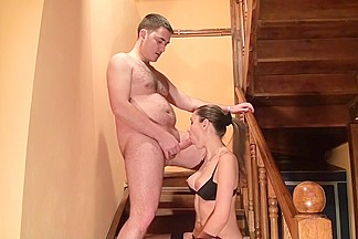 Homemade sex tape of lusty pair fucking on the stairs