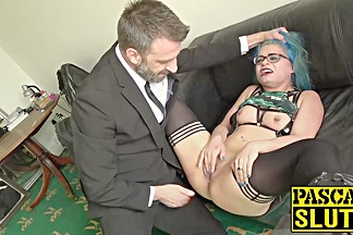 Nasty slut Caitlin Minx gets her ass spanked and masturbates