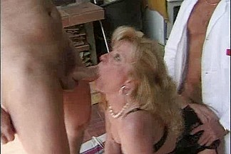 Two old guys hardcore fucking a naughty French MILF