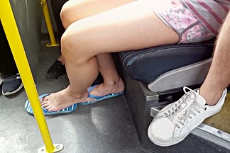 college girl sexy legs cute natural feets in flip flops