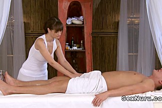 Busty masseuse wanking cock till orgasm
