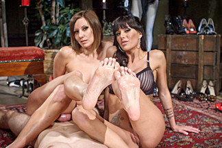 Incredible fetish adult clip with exotic pornstars Gia DiMarco and Maitresse Madeline Marlowe from Footworship