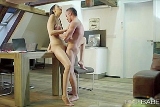 Beautiful Kitty Jane grind dudes cock with erotic fun and give dude a sloppy blowjob