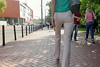 Russian ass in white pants