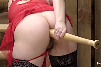 gaping ass fucks a baseball bat young brunette