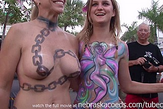 Body Painted And Flashing Girls During The Day