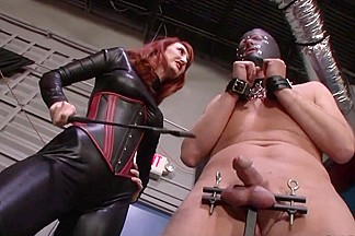 Mistress Punishing Slaves Balls and let him cum on her boots