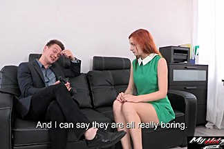 Hot Russian red head Eva helps this guy get a load off
