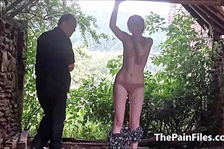 Saschas outdoor tit whipping and ### bizarre domination of amateur bdsm ### in hard spanking outside