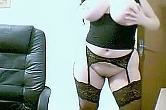Big tittied chubby in a garter receives it on