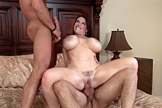 Horny pornstar Daphne Rosen in hottest threesome, dp sex scene
