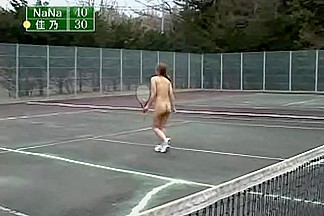 Nasty Asian babe plays tennis without any clothes on
