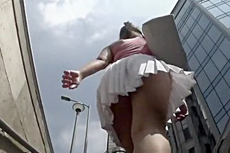 Hot girl short white skirt upskirt