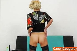 Sava - Blonde Czech mature masturbates with a dildo