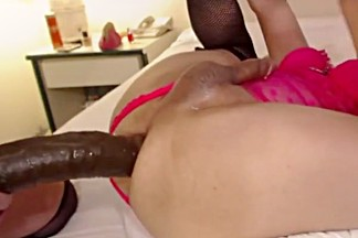 Big dick sissy in chastity stretched