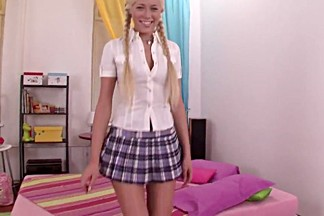 Blonde russian college girl goes black anal