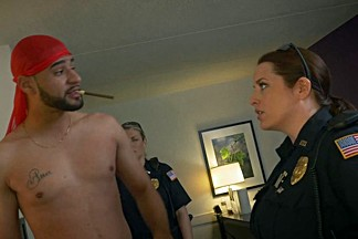 Arab guy raided by big boobs naughty police cops