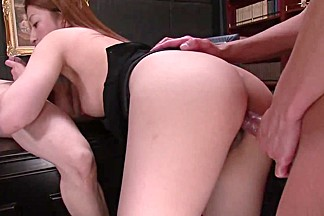 ###ary beauty gets hardcore threesome fuck on a desk