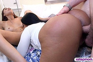 Huge boobs step mom loves sharing a cock with her daughter