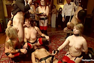 Masquerade Orgy with Nine Slaves,100 Horny Guests, Part One