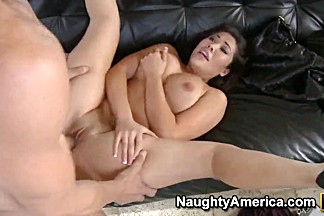 Erotic seductive London Keyes sucking a huge hard pole then gets fucked