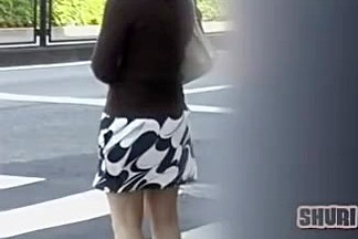 Nice Japanese broads get their knickers revealed in public
